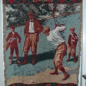 Goodwin Weavers Cotton Golf Throw Blanket Tapestry